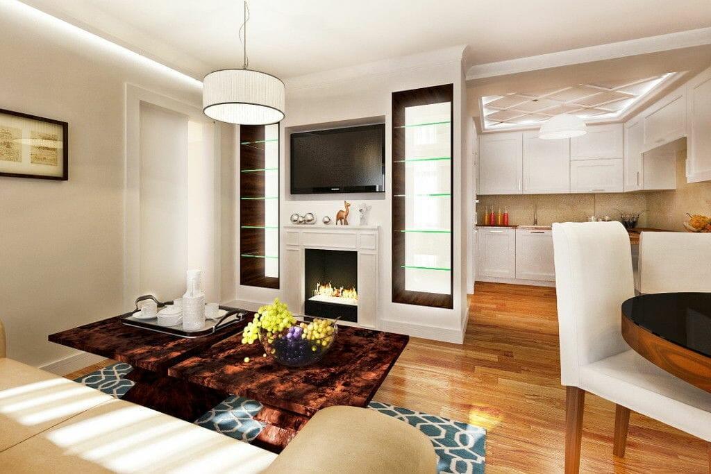 mieszkanie rzeszów pod klucz, drewno na podłodze, kuchnia z jadalnią i salonem, ściana TV, biokominek, ruby fires, wizualizacje, viva design, Rzeszów