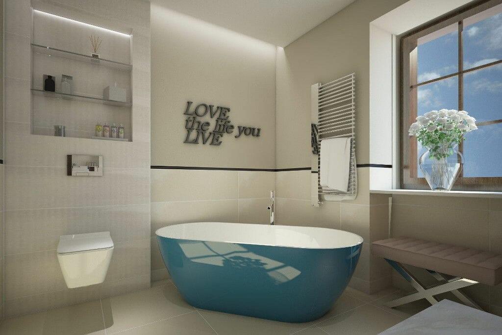 I bianchi di rex, excellent, wanna wolnostojąca, napis na ścianie, łazienka nastolatki rezydencja Viva Design