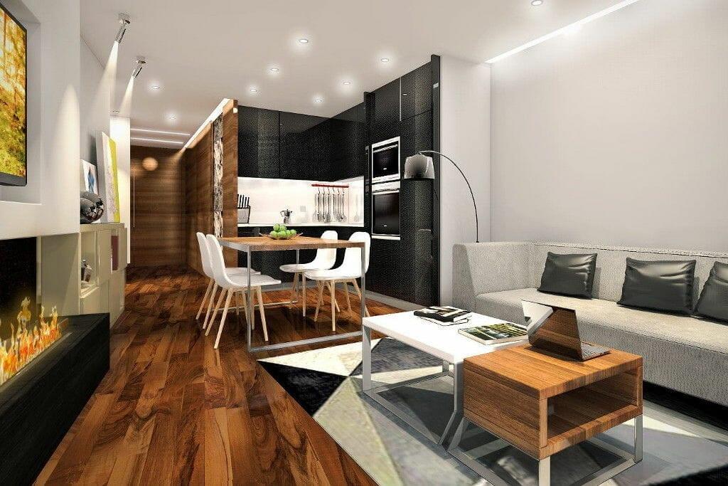 Wizualizacja apartamenty zamkowe biokominek kuchnia jasne nowoczesne - Viva Design