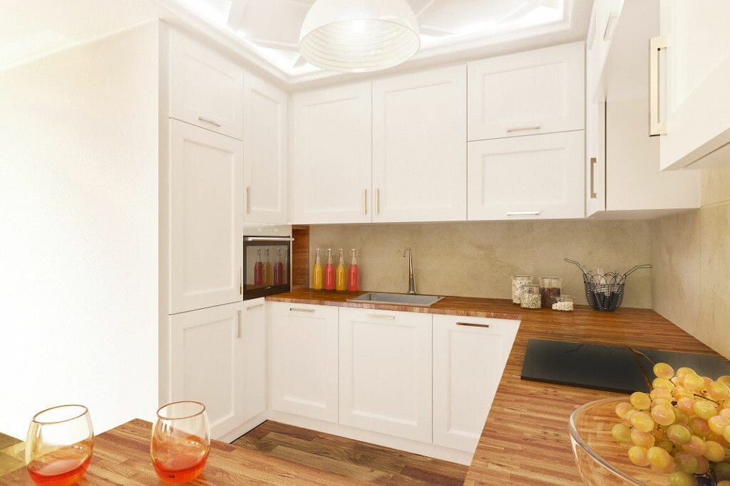 Kuchnia, mieszkanie urządzane pod klucz, jasne, białe fronty, blat drewniany, kasetony, listwy dekoracyjne na suficie, viva design, wizualizacja, Rzeszów