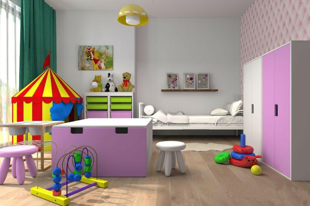 pokój dziewczynki dziecka, ikea, fiolet, jasny, przytulny, miły, ciepły, pikowana ściana, zabawki, wizualziacja, drewniana podłoga, rzeszów, viva design