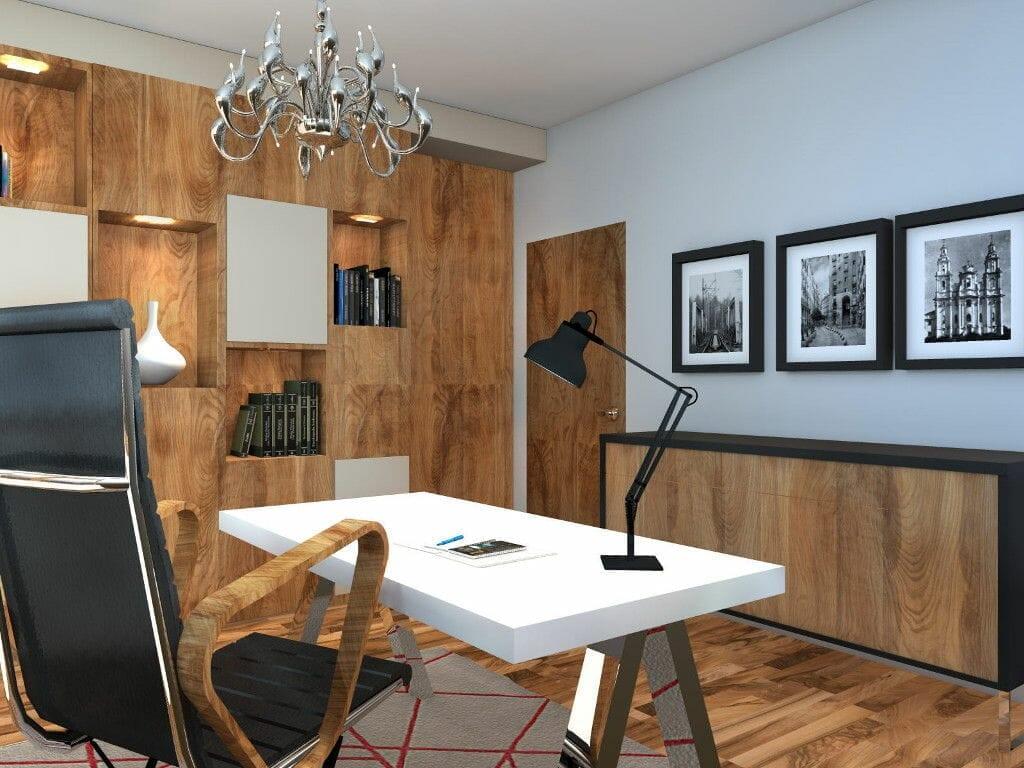 Gabinet, drewno, drewniana podłoga, wizualizacja, rzeszów, viva design