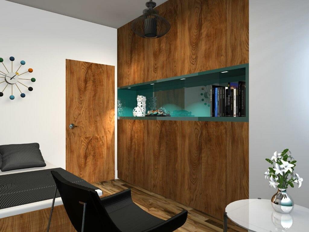 Gabinet, drewno, drewniana podłoga, regał fornirowany, wizualizacja, rzeszów, viva design