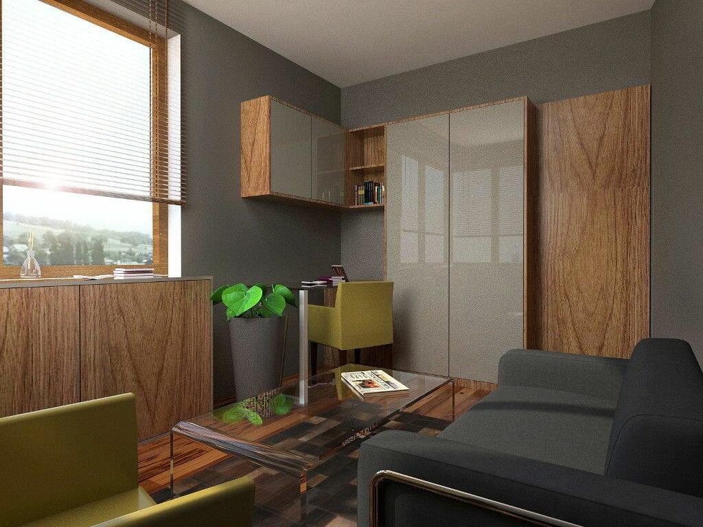 gebinet, ciemy, przytulny, drewno, moma studio, dywan skórzany, wizualizacja, fornirowane fronty, rzeszów, viva design