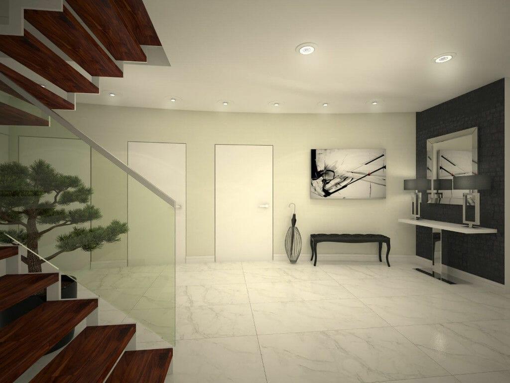 hol, jasny, schody, trepy drewniane, poręcz szkło hartowane, i marmi la faenza, wizualziacja, rzeszów, viva design