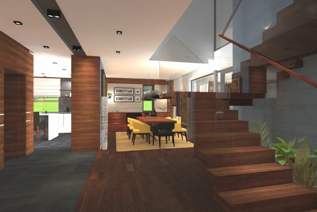 wizualizacja, widok na jadalnie, schody, drewniane, rzeszów, viva design, architektura wnętrz, architektura wnetrz, architekt wnętrz, projekty wnetrz, projekty wnętrz, Rzeszow