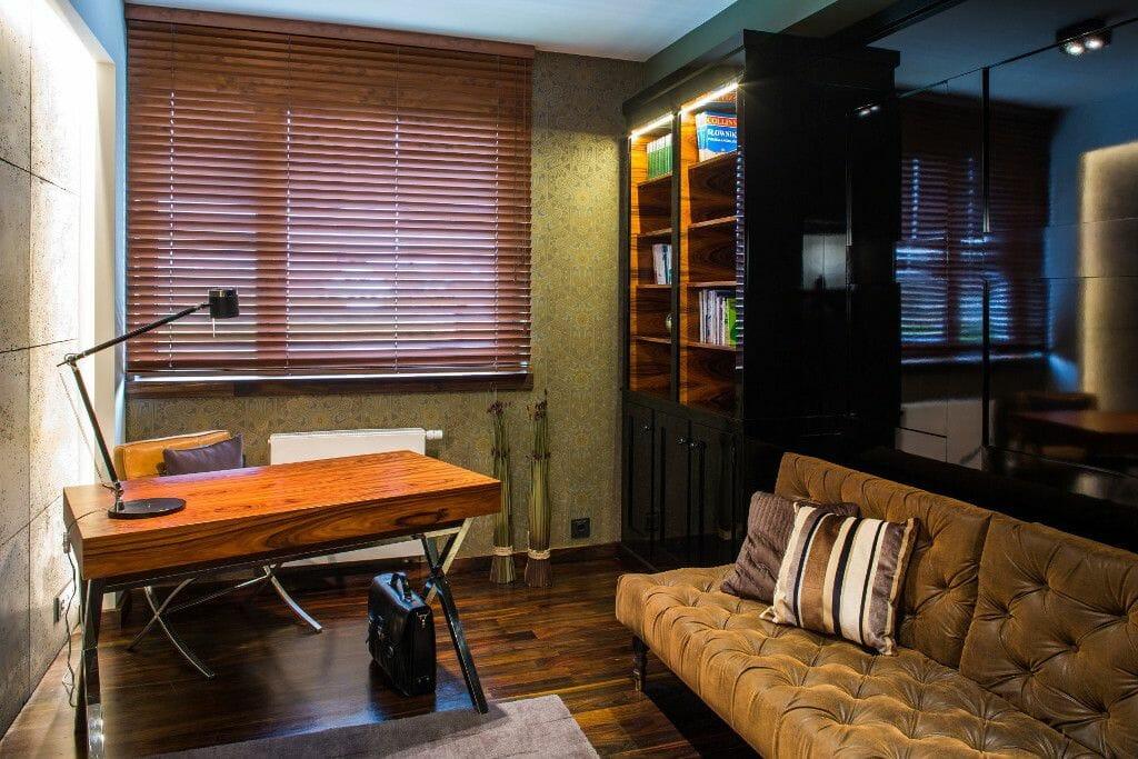Luksusowy gabinet, chrom, drewno, beton - Viva Design