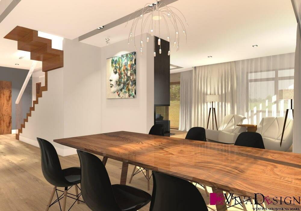 nowoczesna, jadalnia, nowoczesne krzesła, stół drewniany, lampa flos, jasne, drewniana podłoga, wizualizacja, rzeszów, viva design