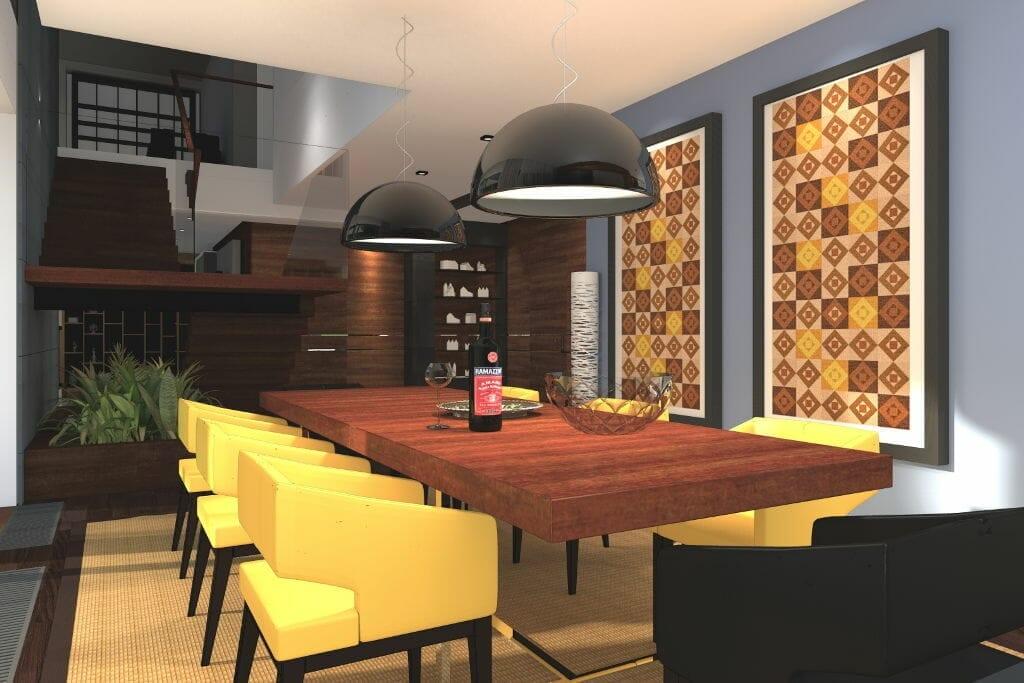 wizualizacja jadalnia, rzeszów, viva design, krzesła musztardowe, stół, lampy nad stołem, projektowanie wnetrz, Rzeszów, pod klucz, architekt wnętrz, Warszawa, projekty wnetrz