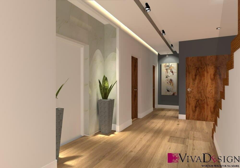tapeta, dekoracyjne donice, hol, schody dywanowe, schody drewniane, podłoga drewniana, balustrada ażurowa, szynoprzewód, wizualizacja, rzeszów, viva design