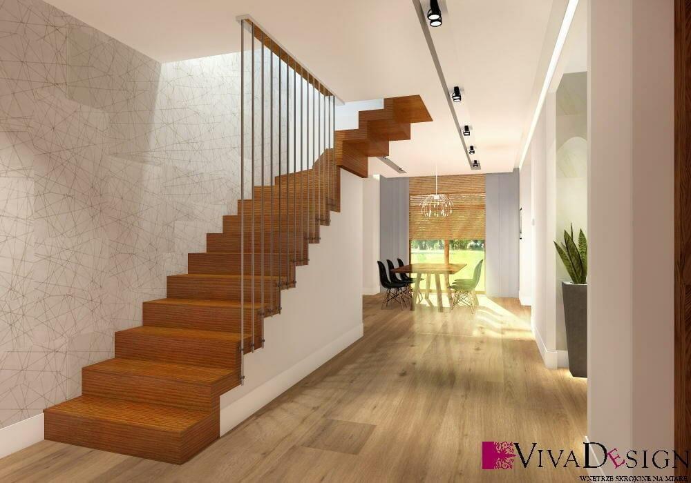 hol, schody dywanowe, schody drewniane, podłoga drewniana, balustrada ażurowa, szynoprzewód, wizualizacja, rzeszów, viva design