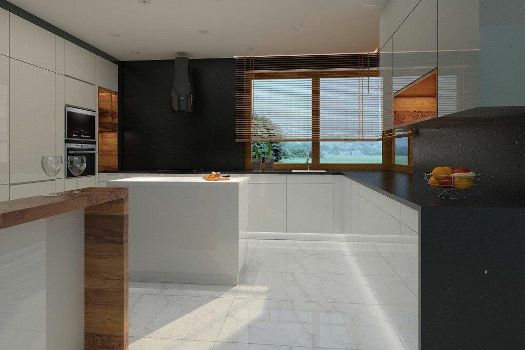 kuchnia nowoczesna, jasne fronty, ciemne ściany, ciarko hydria, kwarcyt pompei, kwarcyt nero, żaluzja drewniana, siemens, wizualizacja, wnętrze, viva design