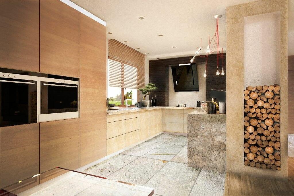 Kuchnia, przytulna, ciepła, pastelowa, kamień, granit, do zabudowy, okap, ciarko, żaluzje drewniane, wizualizacja, viva design