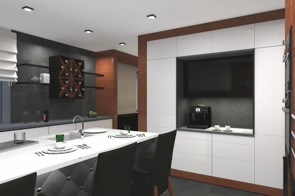 wizualizacja, kuchnia, rzeszów, viva design, oryginalna szafka na wino, fornirowane opaski szafek, białe fronty, architektura wnetrz, interior design, pod klucz, Rzeszow, architektura wnętrz, architekt wnetrz