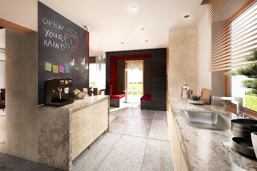 Kuchnia, przytulna, ciepła, siedzisko, hobbita, pastelowa, kamień, granit, wyspa, farba tablicowa, do zabudowy, żaluzje drewniane, wizualizacja, viva design