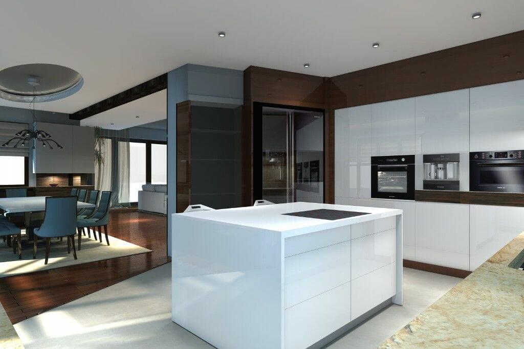 Wizualizacja biała kuchnia z wyspą nowoczesna - Viva Design
