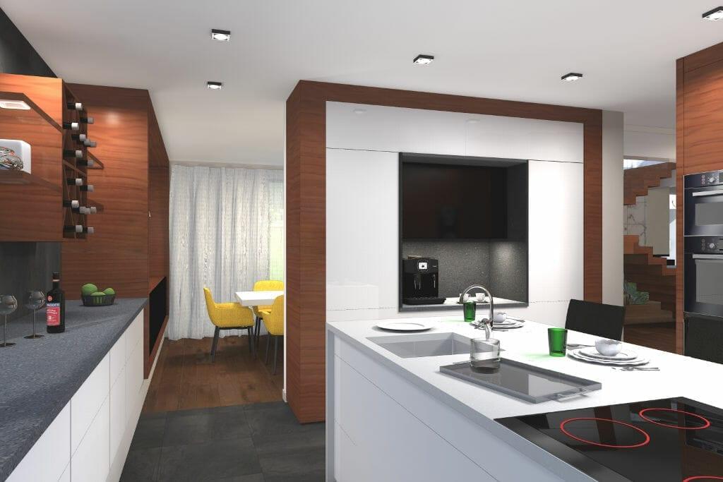 wizualizacja, kuchnia, drewno i lakier biały na frontach, wyspa, rzeszów, viva design, projekty wnetrz, architektura wnętrz, architektura wnetrz, Rzeszów, projektowanie wnetrz, projektant wnetrz