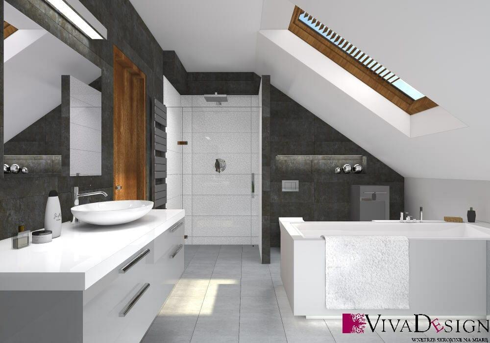 Łazienka, skosy, okno dachowe, wanna, prysznic, umywalka na blacie, deszczownica, wizualizacja, viva design