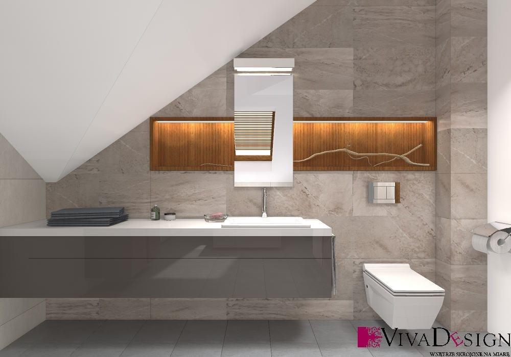Łazienka, skosy, toaleta miska WC wisząca, umywalka wpuszczana, wizualizacja, viva design, rzeszów