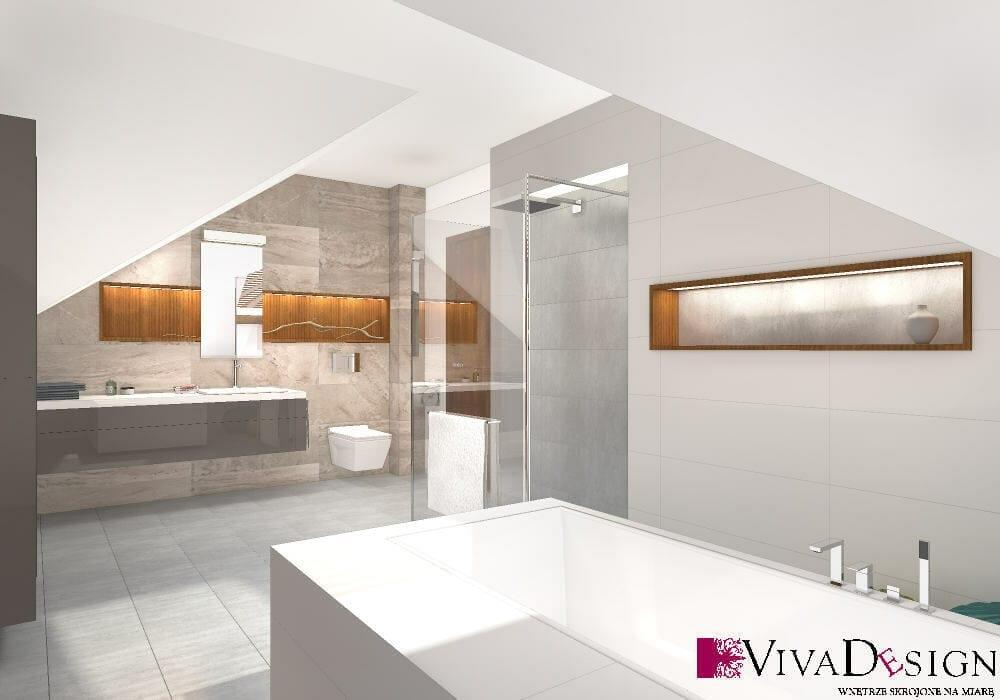 Łazienka, skosy, toaleta miska WC wisząca, umywalka wpuszczana, wizualizacja, viva design, rzeszów, wanna, prysznic