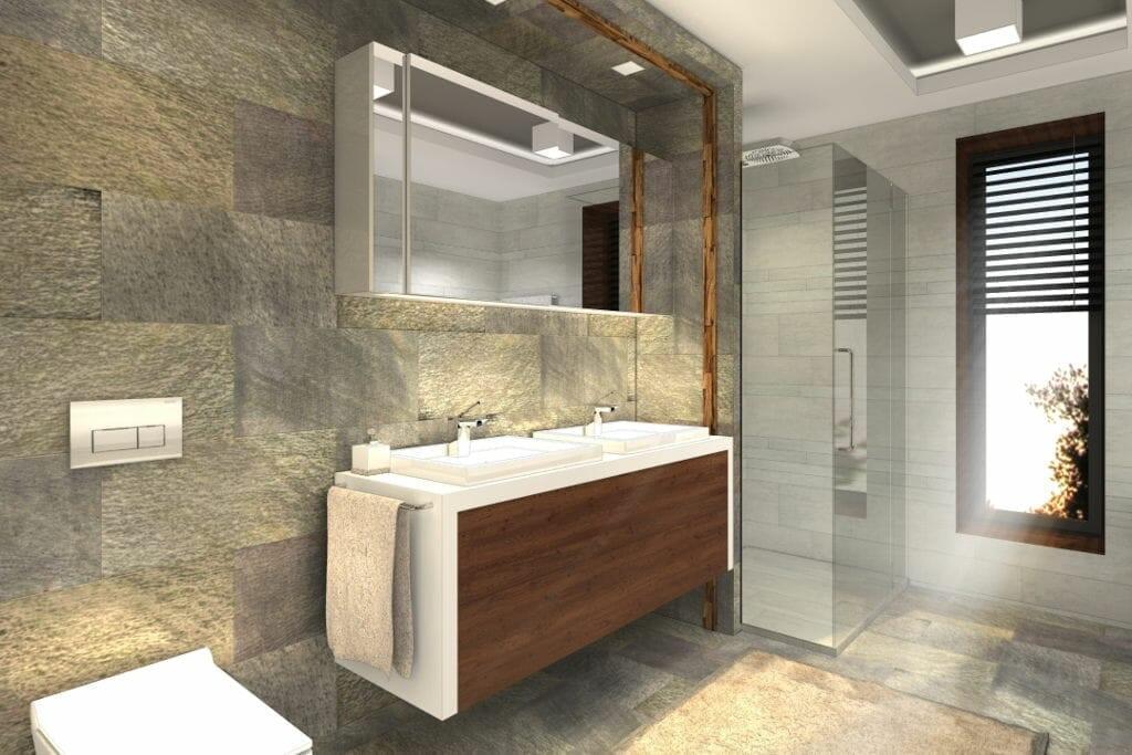 Łazienka, luksusowa, dwie umywalki, kamień, drewniane fronty, wizualizacja, rzeszów, viva design