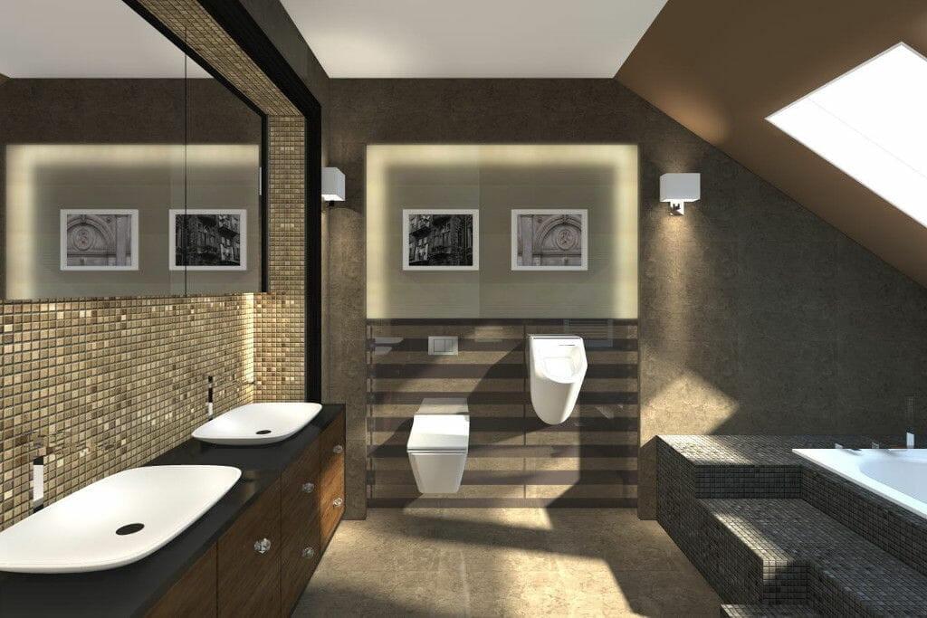 Wizualizacja łazienka dwie umywalki pisuar wanna postument mozaika Viva Design