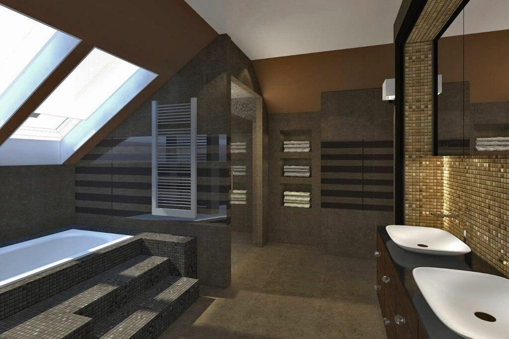 Wizualizacja łazienka dwie umywalki pisuar wanna postument mozaika sauna Viva Design