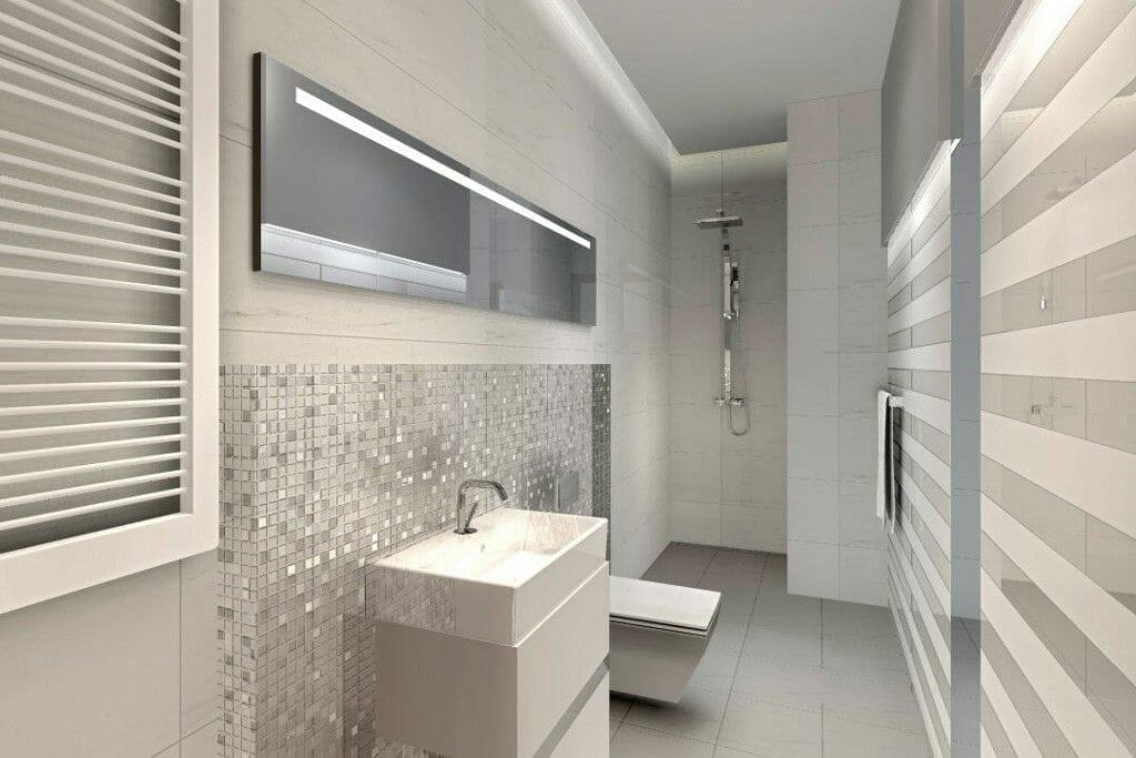 Wizualizacja łazienka jasna paski nowoczesna Viva Design