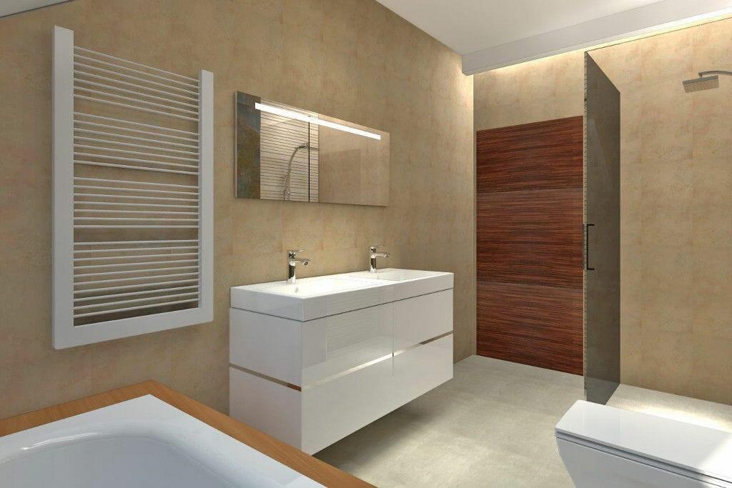 Wizualizacja łazienka kamień zieleń i brąz Viva Design