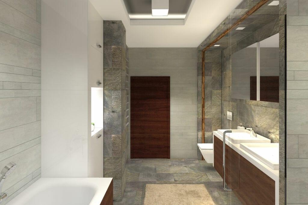 Łazienka, luksusowa, kamień, wizualizacja, rzeszów, viva design