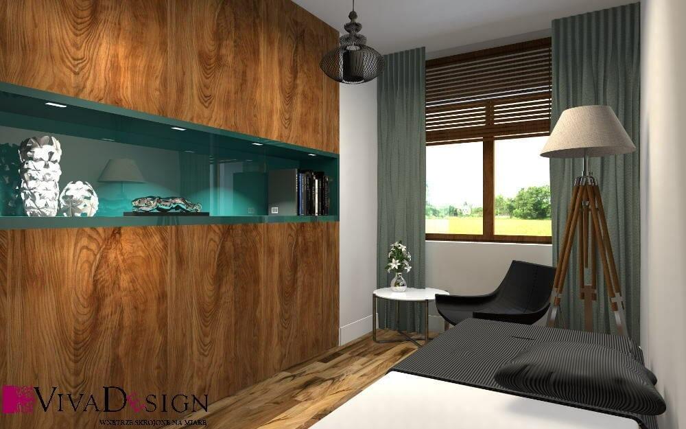 Gabinet, żaluzje drewniane, drewno, drewniana podłoga, regał fornirowany, wizualizacja, rzeszów, viva design