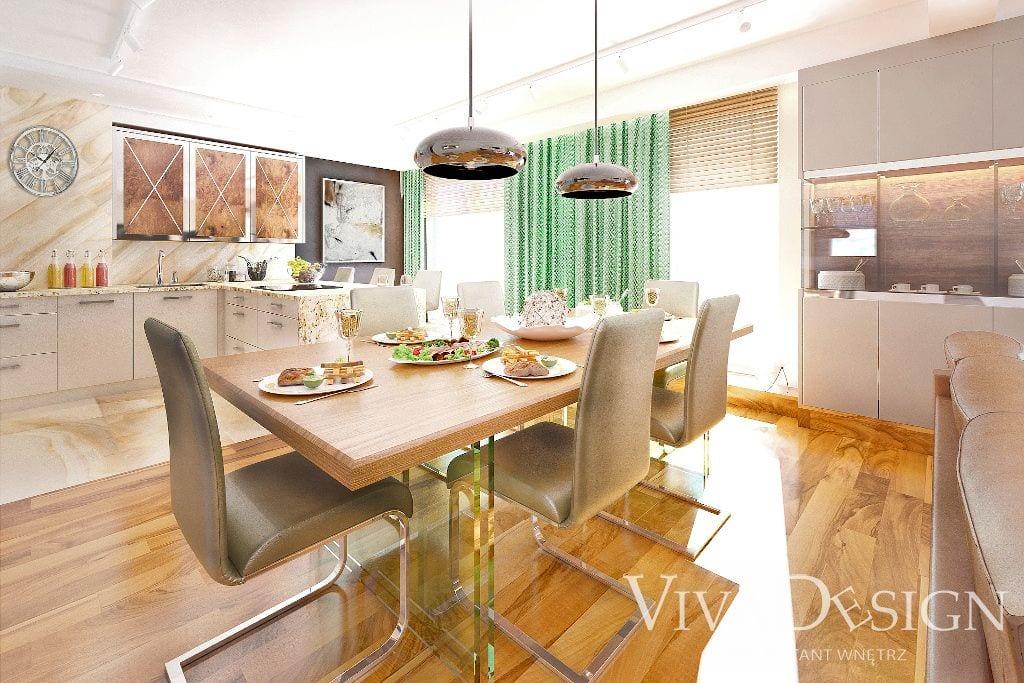 Jadalnia kuchnia luksus kamień naturalny wizualizacje - Viva Design