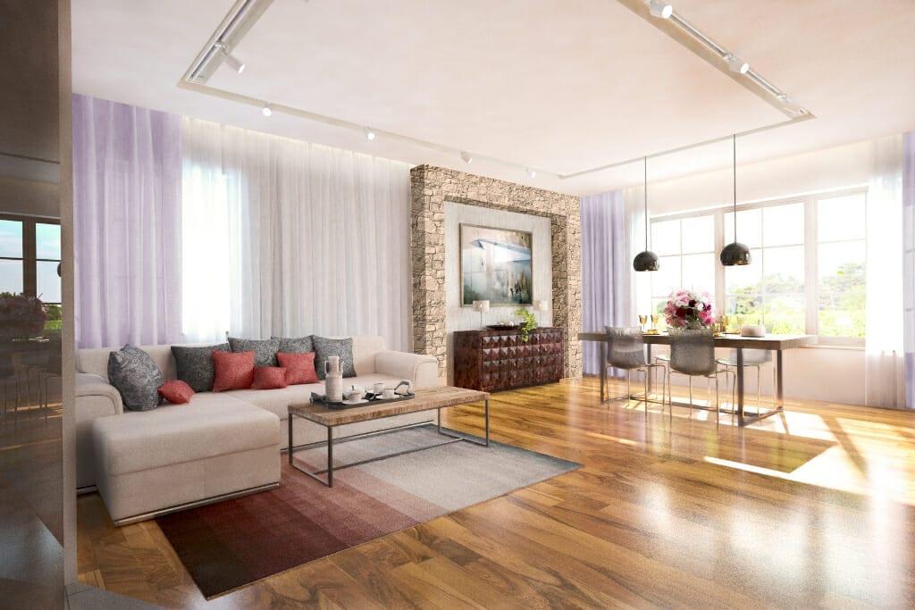 salon, nowoczesny, kamień, drewniana podłoga, filary obłożone kamieniem, sofa, jadalnia, komoda indyjska, szynnoprzewód, calligaris krzesła, viva design, wizualizacja,