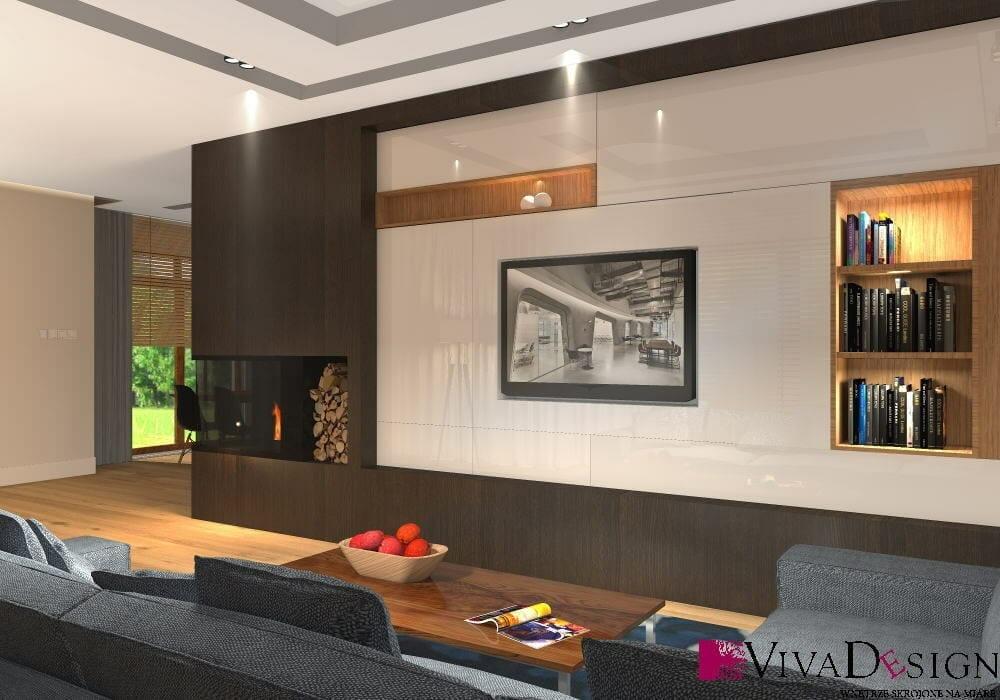 salon, ściana TV, kominek, jasna białe fronty, ciemne brązowe fronty, podłoga drewniana, sofa, fotel, wizualizacja, viva design