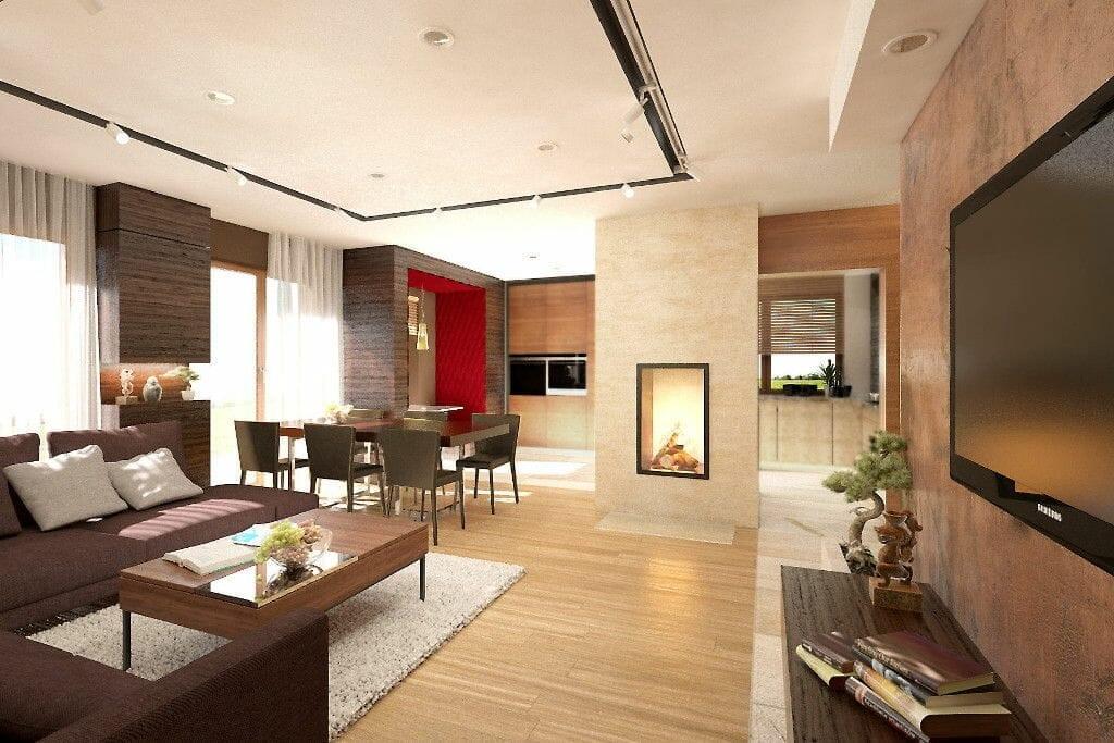 salon, pastelowe kolory, kominek, siedzisko tapicerowane, jadalnia, ściania tv, spieki, laminam, drewno, brąz, wizualizacja, viva design