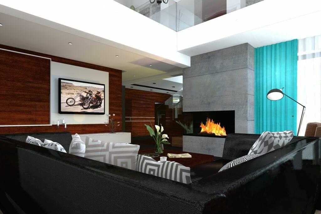 salon luksusowy, drewno na ścianie, beton na kominku, antresola, wizualizacja, rzeszów, viva design