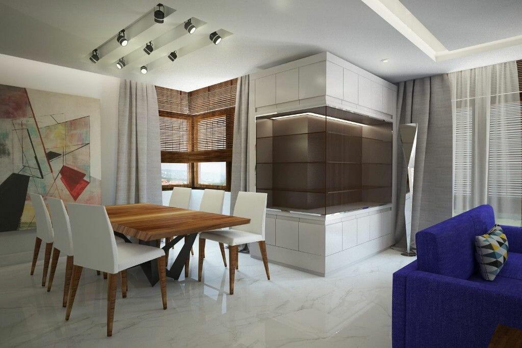 luksus, i marmi la faenza, rzeszów, marmur, kamień, jasne, nowoczesne, salon, catellan italia, szklany regał, wizualizacja, viva design