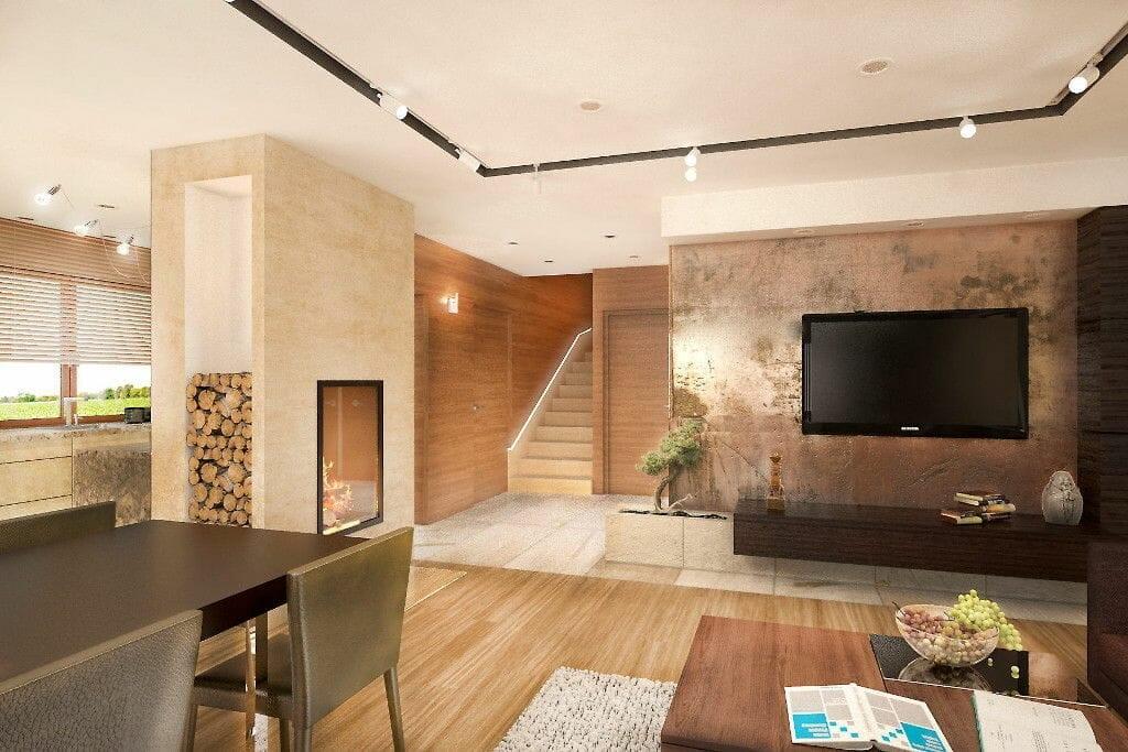 salon, pastelowe kolory, kominek, jadalnia, ściania tv, spieki, laminam, drewno, brąz, wizualizacja, viva design, szynoprzewód
