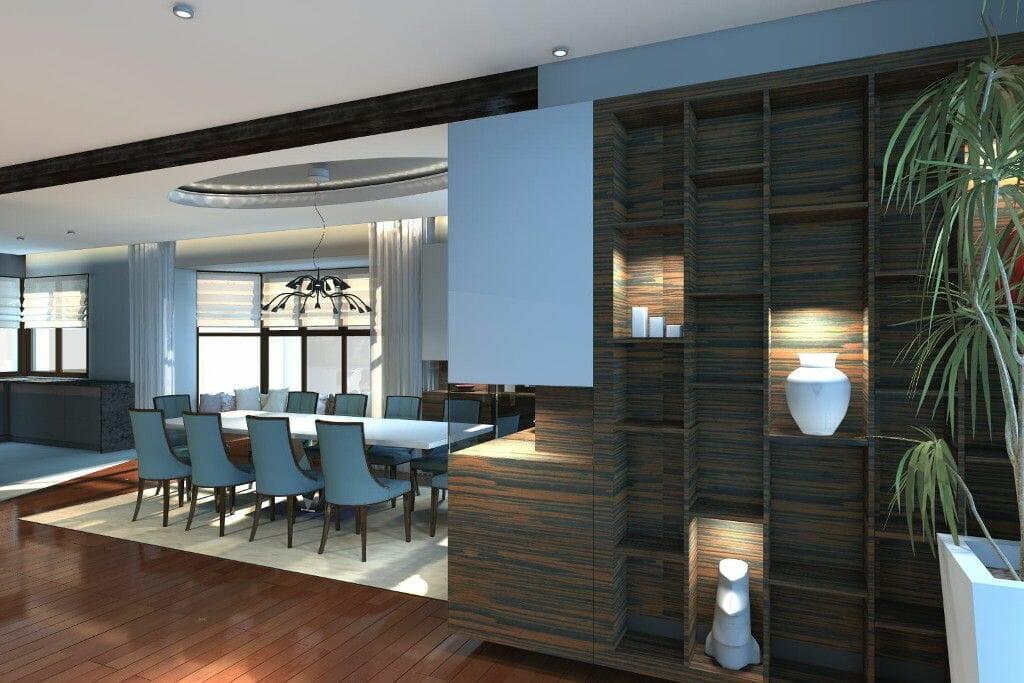 Wizualizacja salon z kominkiem przestronny eklektyczny regał - viva design