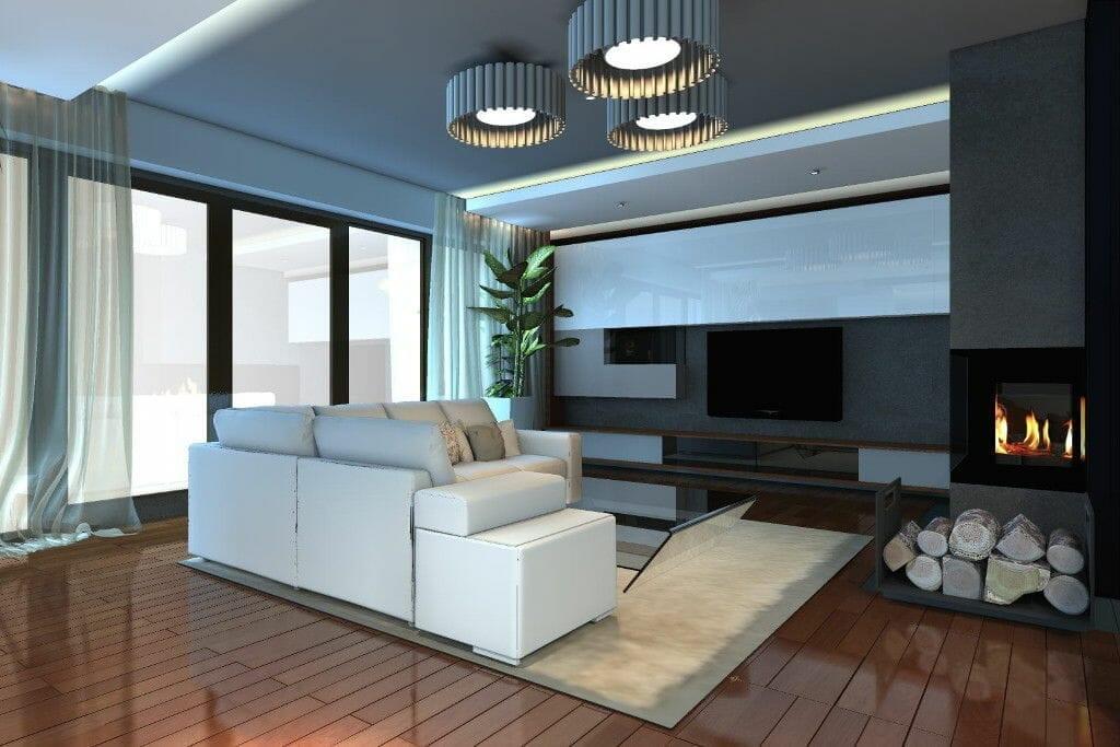 Wizualizacja salon z kominkiem przestronny eklektyczny - viva design