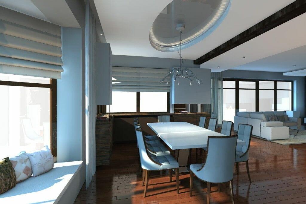 Wizualizacja jadalnia eklektyczne krzesła i stół jasna, drewno - Viva Design