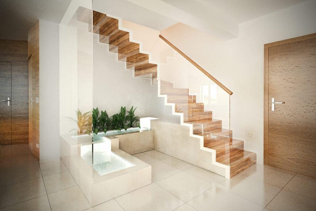 kaskada wodna, schody, pod schodami, dom, w domu, balustrada szkło hartowane, pochwyt drewniany, wizualizacja, viva design, Rzeszów