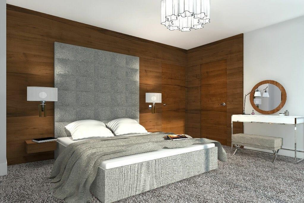 sypialnia, toaletka, przytulna, wykładzina, tapicerowana ściana, pikowana ściana, drewniana ściana, wykładzina, wizualizacja, viva design
