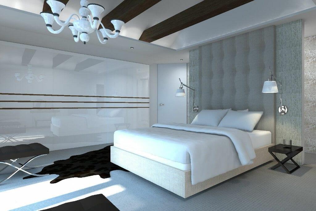 Sypialnia pikowana ściana tapeta szkło wizualizacja - Viva Design