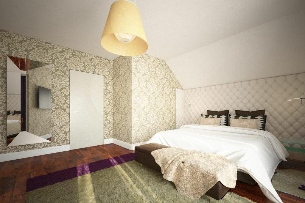sypialnia, denya, podłoga drewniana, toaletka, dywan, rzeszów, viva design, wnętrz, wizualizacja