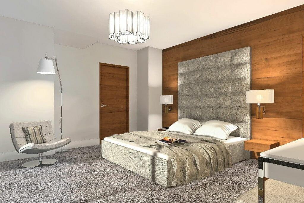 sypialnia, przytulna, wykładzina, tapicerowana ściana, pikowana ściana, drewniana ściana, wykładzina, wizualizacja, viva design