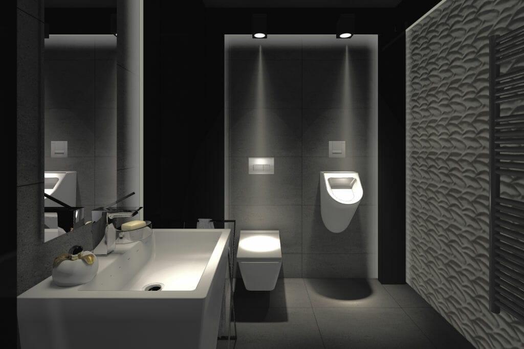 wizualizacja, łazienka, luksusowa, rzeszów, viva design, umywalka wolnostojaca, pisuar, płytka z efektem 3D, projektowanie wnętrz, architektura wnetrz, interior design, projekty wnętrz, pod klucz, Rzeszow