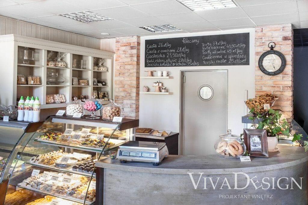 Cukiernia projekt wystrój i aranżacja wnętrz - Viva Design
