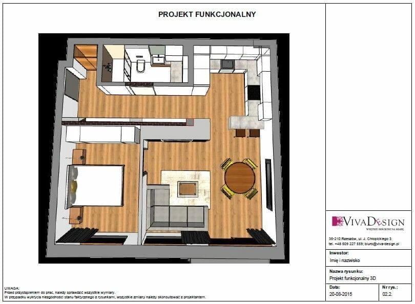 projekt funkcjonalny 3D, projekt wnętrz, projektowanie wnętrz, architekt wnętrz, viva design, rzeszów, kraków, viva design