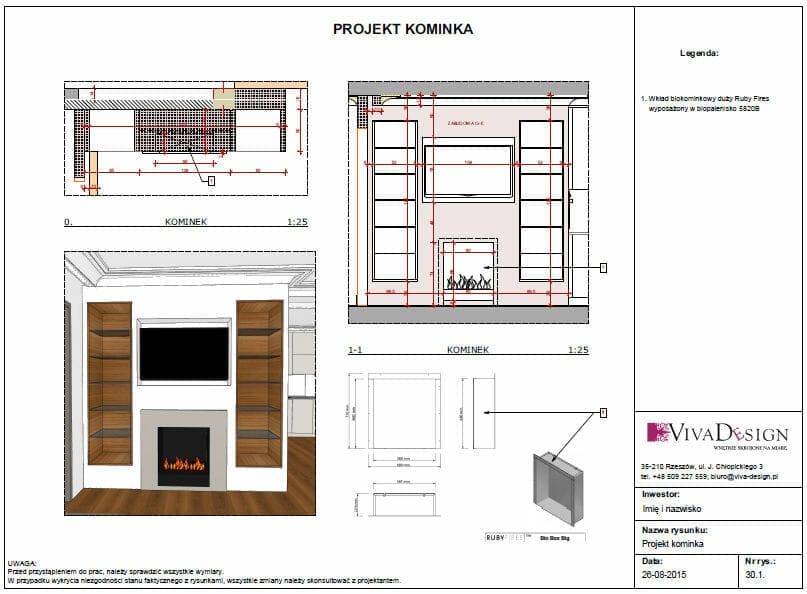projekt kominka, projekt biokominka, projektowanie wnętrz, projektant wnętrz, architekt wnętrz, rzeszów, kraków, viva design